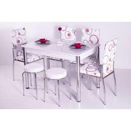 4 Sandalye ve 2 Tabure Sabit Masa Takımı Favorite-Kırmızı Halka Desenli