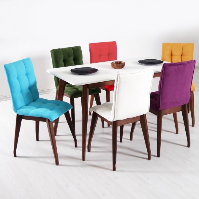 Vello Ahşap Salon Mutfak Masa Takımı Kumaş Sandalye 6 Kişilik Oval