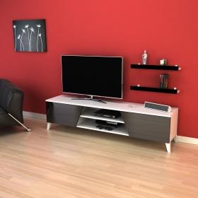 Tv Ünitesi Raf Hediyeli 180cm Long Televizyon Sehpası - Siyah - Siyah