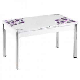 Açılır Camlı Kelebek Yemek Mutfak Masası - Mürdüm Çiçek