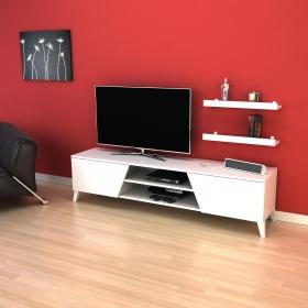Tv Ünitesi Raf Hediyeli 180cm Long Televizyon Sehpası - Beyaz - Beyaz