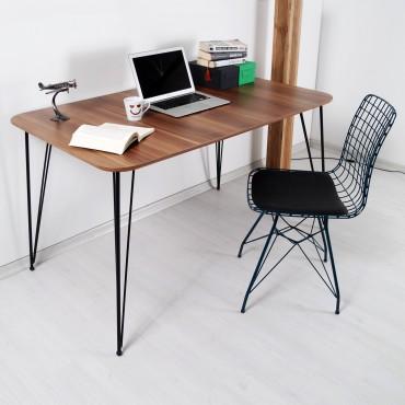 Hardy Ev Ofis Çalışma Masası Ceviz Ahşap Dokulu