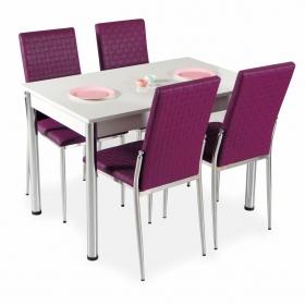 Hasır Desenli Mutfak Masa Sandalye Takımı - Mürdüm