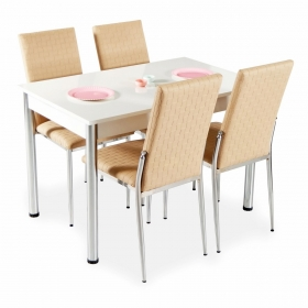 Hasır Desenli Mutfak Masa Sandalye Takımı - Kapuçino
