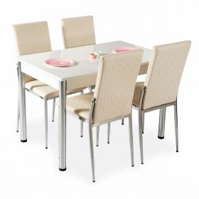 Hasır Desenli Mutfak Masa Sandalye Takımı - Krem