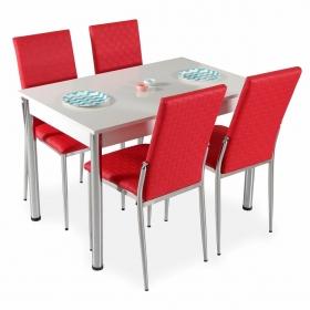 Hasır Desenli Mutfak Masa Sandalye Takımı - Kırmızı