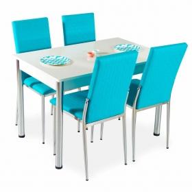 Hasır Desenli Mutfak Masa Sandalye Takımı - Turkuaz
