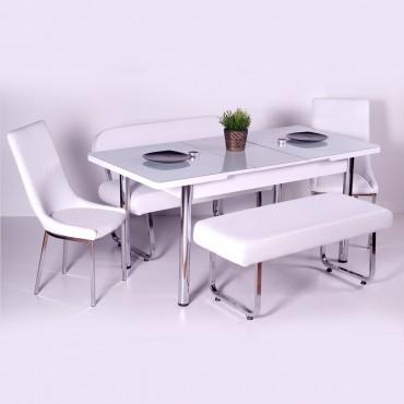 Yeni Evform Vega Banklı Açılır Masa Takımı Mutfak Masası Yemek Seti Beyaz