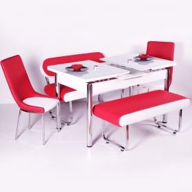 Yeni Evform Vega Banklı Açılır Masa Takımı Mutfak Masası Yemek Seti Kırmızı
