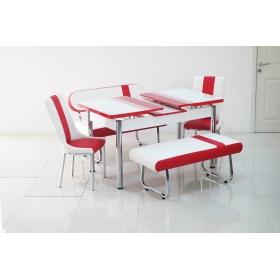 Yeni Evform Vega Banklı Açılır Masa Takımı Mutfak Masası Yemek Seti Kırmızı Çizgili