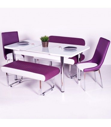 Yeni Evform Vega Banklı Açılır Masa Takımı Mutfak Masası Yemek Seti Mürdüm