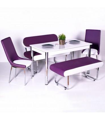 Yeni Evform Vega Banklı Masa Takımı Mutfak Masası Yemek Seti Mürdüm