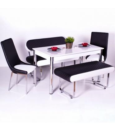 Yeni Evform Vega Banklı Masa Takımı Mutfak Masası Yemek Seti Siyah