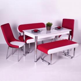 Yeni Evform Vega Banklı Masa Takımı Mutfak Masası Yemek Seti Kırmızı