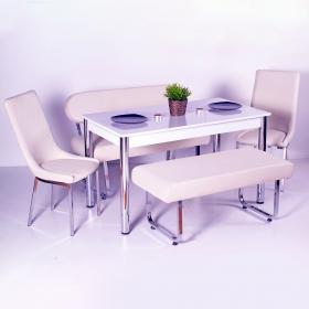 Yeni Evform Vega Banklı Masa Takımı Mutfak Masası Yemek Seti Krem