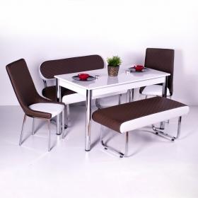 Yeni Evform Vega Banklı Masa Takımı Mutfak Masası Yemek Seti Kahve