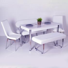 Yeni Evform Vega Banklı Masa Takımı Mutfak Masası Yemek Seti Beyaz