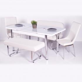 Yeni Evform Vega Banklı Açılır Masa Takımı Mutfak Masası Yemek Seti Krem