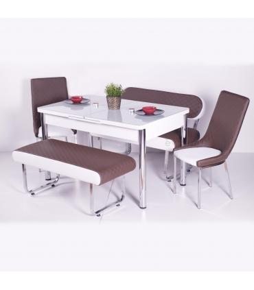 Yeni Evform Vega Banklı Açılır Masa Takımı Mutfak Masası Yemek Seti Kahve
