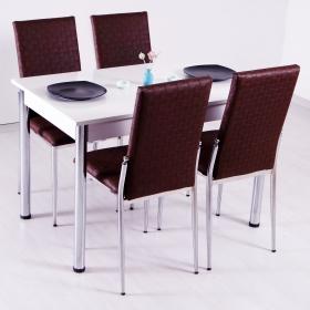 Hasır Desenli Mutfak Masa Sandalye Takımı - Kahve