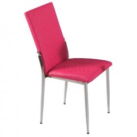 Favorite Deri Döşeme Hasır Desen Sandalye - Fuşya