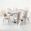 Maglione 6 Kişilik Mermer Desen Açılır X Masa Sandalye Takımı - Beyaz