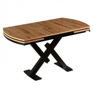 Çırağan Ağacı Desenli X Ayak Açılır Beyaz Mutfak Yemek Masası