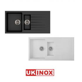 Ukinox Arya D 150 Tezgah Üstü Granit Eviye (Siyah Beyaz Renk Seçenekli) - Beyaz