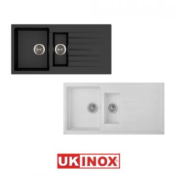 Ukinox Arya D 150 Tezgah Üstü Granit Eviye (Siyah Beyaz Renk Seçenekli)