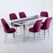 Evform Tiviza 6 Kişilik Taytüyü Sandalye Açılır Mutfak Masa Takımı Mürdüm Hasır