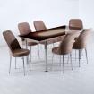 Evform Tiviza 6 Kişilik Taytüyü Sandalye Açılır Mutfak Masa Takımı Kahve