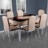 Evform Platin 6 Kişilik Deri Sandalye Açılır Mutfak Masa Takımı Kapuçino