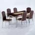 Evform Platin 6 Kişilik Deri Sandalye Açılır Mutfak Masa Takımı