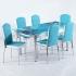 Evform Platin 6 Kişilik Deri Sandalye Açılır Mutfak Masa Takımı Turkuaz Okyanus