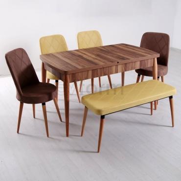 Evform Milla 4 Sandalye ve Bench Salon Mutfak Açılır Masa Sandalye Takımı - Sarı Kahve Kombin