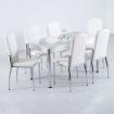 Evform Platin 6 Kişilik Deri Sandalye Mutfak Masa Takımı - Beyaz