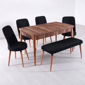 Evform Milla 4 Sandalye ve Bench Salon Mutfak Açılır Masa Sandalye Takımı - Siyah - Siyah