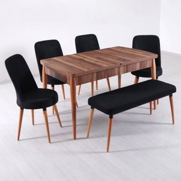 Evform Milla 4 Sandalye ve Bench Salon Mutfak Açılır Masa Sandalye Takımı - Siyah