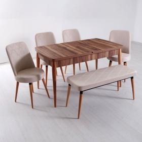 Evform Milla 4 Sandalye ve Bench Salon Mutfak Açılır Masa Sandalye Takımı - Krem - Krem