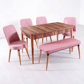 Evform Milla 4 Sandalye ve Bench Salon Mutfak Açılır Masa Sandalye Takımı - Pembe - Pembe