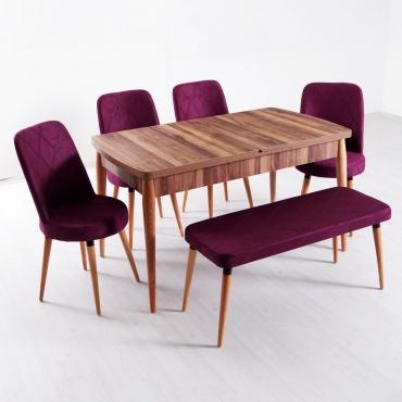 Evform Milla 4 Sandalye ve Bench Salon Mutfak Açılır Masa Sandalye Takımı - Mürdüm