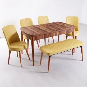 Evform Milla 4 Sandalye ve Bench Salon Mutfak Açılır Masa Sandalye Takımı - Sarı - Sarı
