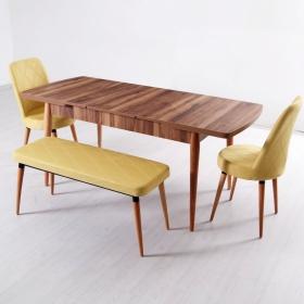 Evform Milla 2 Sandalye ve Bench Salon Mutfak Açılır Masa Sandalye Takımı - Sarı - Sarı