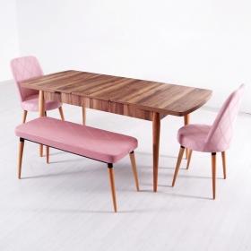 Evform Milla 2 Sandalye ve Bench Salon Mutfak Açılır Masa Sandalye Takımı - Pembe