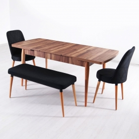 Evform Milla 2 Sandalye ve Bench Salon Mutfak Açılır Masa Sandalye Takımı - Siyah - Siyah