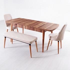 Evform Milla 2 Sandalye ve Bench Salon Mutfak Açılır Masa Sandalye Takımı - Krem - Krem