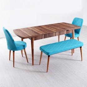 Evform Milla 2 Sandalye ve Bench Salon Mutfak Açılır Masa Sandalye Takımı - Turkuaz - Turkuaz