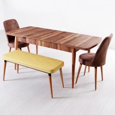 Evform Milla 2 Sandalye ve Bench Salon Mutfak Açılır Masa Sandalye Takımı - Sarı Kahve Kombin