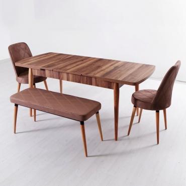 Evform Milla 2 Sandalye ve Bench Salon Mutfak Açılır Masa Sandalye Takımı - Kahve