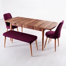 Evform Milla 2 Sandalye ve Bench Salon Mutfak Açılır Masa Sandalye Takımı - Mürdüm - Mürdüm